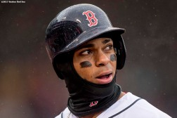 BOSTON, MA - MAY 14: Xander Bogaerts #2 of the Boston Red Sox reacts during the fifth inning of a game against the Tampa Bay Rays on May 14, 2017 at Fenway Park in Boston, Massachusetts. (Photo by Billie Weiss/Boston Red Sox/Getty Images) *** Local Caption *** Xander Bogaerts