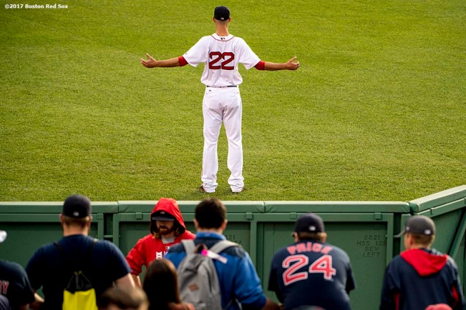BOSTON, MA - MAY 23: Rick Porcello #22 of the Boston Red Sox warms up before a game against the Texas Rangers on May 23, 2017 at Fenway Park in Boston, Massachusetts. (Photo by Billie Weiss/Boston Red Sox/Getty Images) *** Local Caption *** Rick Porcello