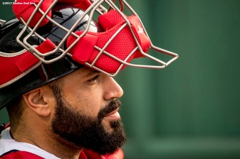 BOSTON, MA - MAY 23: Sandy Leon #3 of the Boston Red Sox looks on in the bullpen before a game against the Texas Rangers on May 23, 2017 at Fenway Park in Boston, Massachusetts. (Photo by Billie Weiss/Boston Red Sox/Getty Images) *** Local Caption *** Sandy Leon
