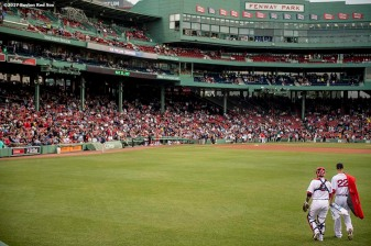 BOSTON, MA - MAY 23: Rick Porcello #22 and Sandy Leon #3 of the Boston Red Sox walk toward the dugout before a game against the Texas Rangers on May 23, 2017 at Fenway Park in Boston, Massachusetts. (Photo by Billie Weiss/Boston Red Sox/Getty Images) *** Local Caption *** Rick Porcello; Sandy Leon