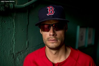 BOSTON, MA - MAY 24: Joe Kelly #56 of the Boston Red Sox poses for a portrait before a game against the Texas Rangers on May 24, 2017 at Fenway Park in Boston, Massachusetts. (Photo by Billie Weiss/Boston Red Sox/Getty Images) *** Local Caption *** Joe Kelly