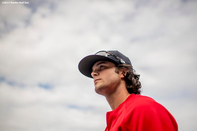 BOSTON, MA - MAY 24: Andrew Benintendi #16 of the Boston Red Sox looks on before a game against the Texas Rangers on May 24, 2017 at Fenway Park in Boston, Massachusetts. (Photo by Billie Weiss/Boston Red Sox/Getty Images) *** Local Caption *** Andrew Benintendi