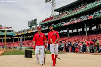 BOSTON, MA - MAY 24: Mookie Betts #50 and Chris Young #30 of the Boston Red Sox walk onto the field for batting practice before a game against the Texas Rangers on May 24, 2017 at Fenway Park in Boston, Massachusetts. (Photo by Billie Weiss/Boston Red Sox/Getty Images) *** Local Caption *** Mookie Betts; Chris Young