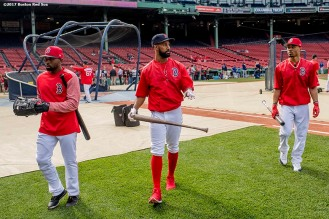 BOSTON, MA - MAY 24: Jackie Bradley Jr. #19, Chris Young #30, and Mookie Betts #50 of the Boston Red Sox walk off the field after batting practice before a game against the Texas Rangers on May 24, 2017 at Fenway Park in Boston, Massachusetts. (Photo by Billie Weiss/Boston Red Sox/Getty Images) *** Local Caption *** Mookie Betts; Chris Young; Jackie Bradley Jr.