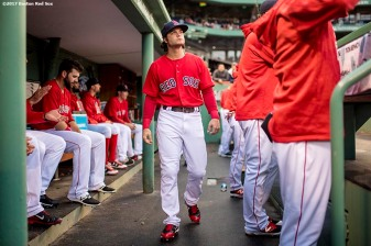 BOSTON, MA - MAY 26: Andrew Benintendi #16 of the Boston Red Sox walks through the dugout before a game against the Seattle Mariners on May 26, 2017 at Fenway Park in Boston, Massachusetts. (Photo by Billie Weiss/Boston Red Sox/Getty Images) *** Local Caption *** Andrew Benintendi