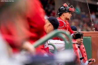 BOSTON, MA - MAY 26: Christian Vazquez #7 of the Boston Red Sox looks on before a game against the Seattle Mariners on May 26, 2017 at Fenway Park in Boston, Massachusetts. (Photo by Billie Weiss/Boston Red Sox/Getty Images) *** Local Caption *** Christian Vazquez