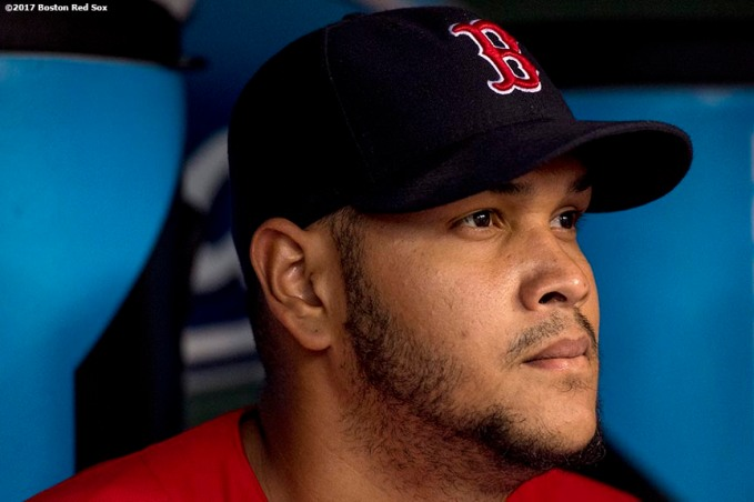 BOSTON, MA - MAY 26: Eduardo Rodriguez #52 of the Boston Red Sox looks on before a game against the Seattle Mariners on May 26, 2017 at Fenway Park in Boston, Massachusetts. (Photo by Billie Weiss/Boston Red Sox/Getty Images) *** Local Caption *** Eduardo Rodriguez