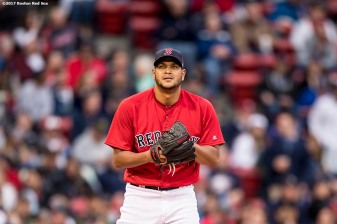 BOSTON, MA - MAY 26: Eduardo Rodriguez #52 of the Boston Red Sox looks on during the second inning of a game against the Seattle Mariners on May 26, 2017 at Fenway Park in Boston, Massachusetts. (Photo by Billie Weiss/Boston Red Sox/Getty Images) *** Local Caption *** Eduardo Rodriguez