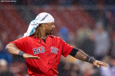 BOSTON, MA - MAY 26: Hanley Ramirez #13 of the Boston Red Sox celebrates a victory against the Seattle Mariners on May 26, 2017 at Fenway Park in Boston, Massachusetts. (Photo by Billie Weiss/Boston Red Sox/Getty Images) *** Local Caption *** Hanley Ramirez