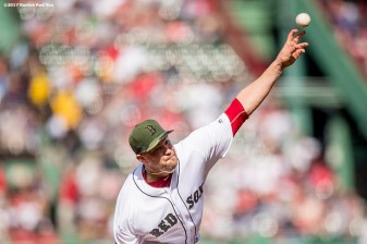 BOSTON, MA - MAY 27: Brian Johnson #61 of the Boston Red Sox delivers during the first inning of a game against the Seattle Mariners on May 27, 2017 at Fenway Park in Boston, Massachusetts. (Photo by Billie Weiss/Boston Red Sox/Getty Images) *** Local Caption *** Brian Johnson