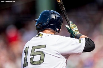 BOSTON, MA - MAY 27: Dustin Pedroia #15 of the Boston Red Sox bats during the first inning of a game against the Seattle Mariners on May 27, 2017 at Fenway Park in Boston, Massachusetts. (Photo by Billie Weiss/Boston Red Sox/Getty Images) *** Local Caption *** Dustin Pedroia
