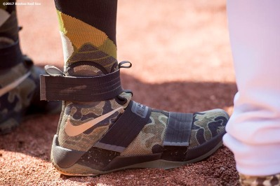 BOSTON, MA - MAY 27: The shoes of Deven Marrero #17 of the Boston Red Sox are shown before a game against the Seattle Mariners on May 27, 2017 at Fenway Park in Boston, Massachusetts. (Photo by Billie Weiss/Boston Red Sox/Getty Images) *** Local Caption *** Deven Marrero