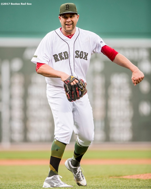 BOSTON, MA - MAY 27: Brian Johnson #61 of the Boston Red Sox reacts after pitching a complete game against the Seattle Mariners on May 27, 2017 at Fenway Park in Boston, Massachusetts. (Photo by Billie Weiss/Boston Red Sox/Getty Images) *** Local Caption *** Brian Johnson