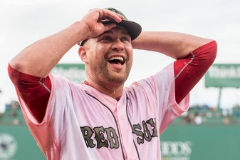 BOSTON, MA - MAY 27: Brian Johnson #61 of the Boston Red Sox reacts after being doused with Powerade after pitching a complete game against the Seattle Mariners on May 27, 2017 at Fenway Park in Boston, Massachusetts. (Photo by Billie Weiss/Boston Red Sox/Getty Images) *** Local Caption *** Brian Johnson