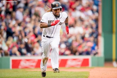 BOSTON, MA - MAY 27: Hanley Ramirez #13 of the Boston Red Sox runs toward home plate before scoring during the ninth inning of a game against the Seattle Mariners on May 27, 2017 at Fenway Park in Boston, Massachusetts. (Photo by Billie Weiss/Boston Red Sox/Getty Images) *** Local Caption *** Hanley Ramirez
