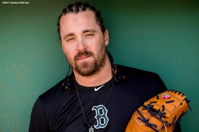 BOSTON, MA - MAY 28: Heath Hembree #37 of the Boston Red Sox poses for a portrait before a game against the Seattle Mariners on May 28, 2017 at Fenway Park in Boston, Massachusetts. (Photo by Billie Weiss/Boston Red Sox/Getty Images) *** Local Caption *** Heath Hembree