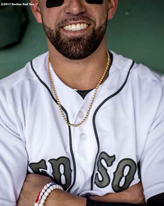 BOSTON, MA - MAY 28: Deven Marrero #17 of the Boston Red Sox reacts before a game against the Seattle Mariners on May 28, 2017 at Fenway Park in Boston, Massachusetts. (Photo by Billie Weiss/Boston Red Sox/Getty Images) *** Local Caption *** Deven Marrero