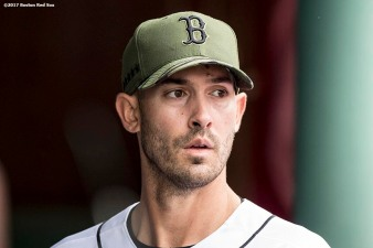 BOSTON, MA - MAY 28: Rick Porcello #22 of the Boston Red Sox reacts after exiting the game during the seventh inning of a game against the Seattle Mariners on May 28, 2017 at Fenway Park in Boston, Massachusetts. (Photo by Billie Weiss/Boston Red Sox/Getty Images) *** Local Caption *** Rick Porcello
