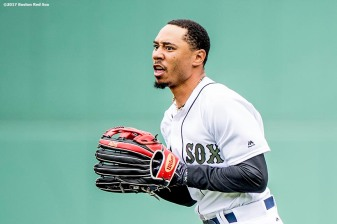 BOSTON, MA - MAY 28: Mookie Betts #50 of the Boston Red Sox reacts after catching a fly ball during the seventh inning of a game against the Seattle Mariners on May 28, 2017 at Fenway Park in Boston, Massachusetts. (Photo by Billie Weiss/Boston Red Sox/Getty Images) *** Local Caption *** Mookie Betts