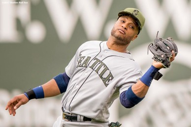 BOSTON, MA - MAY 28: Robinson Cano #22 of the Seattle Mariners catches a fly ball during the inning of a game against the Boston Red Sox on May 28, 2017 at Fenway Park in Boston, Massachusetts. (Photo by Billie Weiss/Boston Red Sox/Getty Images) *** Local Caption *** Robinson Cano