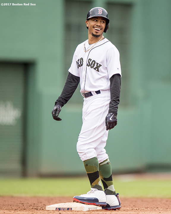 BOSTON, MA - MAY 28: Mookie Betts #50 of the Boston Red Sox reacts during the ninth inning of a game against the Seattle Mariners on May 28, 2017 at Fenway Park in Boston, Massachusetts. (Photo by Billie Weiss/Boston Red Sox/Getty Images) *** Local Caption *** Mookie Betts