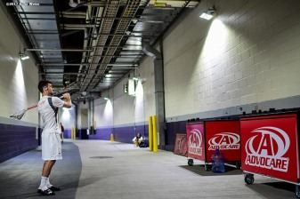 FOXBORO, MA - MAY 29: A member of the Maryland Terrapins warms up outside the locker room before the Division I Men's Lacrosse Championship against the Ohio State Buckeyes at Gillette Stadium on May 29, 2017 in Foxboro, Massachusetts. (Photo by Billie Weiss/Getty Images) *** Local Caption ***