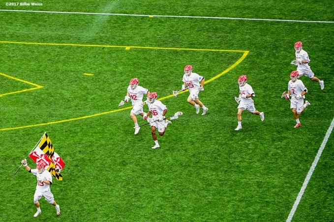 FOXBORO, MA - MAY 29: Members of the Maryland Terrapins take the field before the Division I Men's Lacrosse Championship against the Ohio State Buckeyes at Gillette Stadium on May 29, 2017 in Foxboro, Massachusetts. (Photo by Billie Weiss/Getty Images) *** Local Caption ***