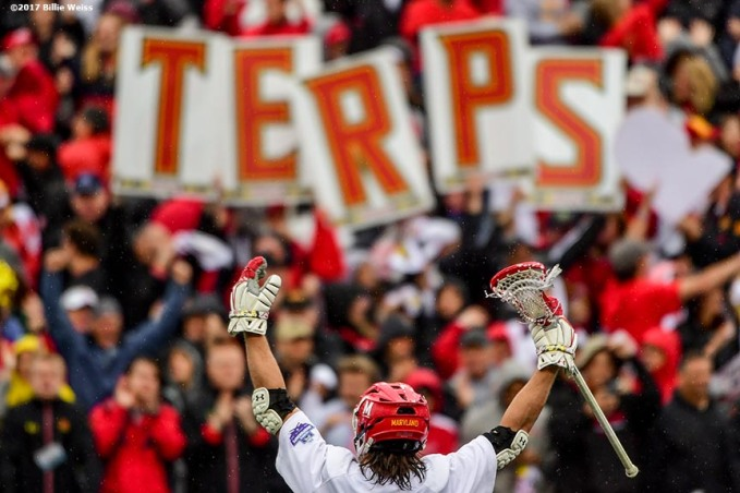 FOXBORO, MA - MAY 29: Colin Heacock #2 of the Maryland Terrapins reacts during the Division I Men's Lacrosse Championship against the Ohio State Buckeyes at Gillette Stadium on May 29, 2017 in Foxboro, Massachusetts. (Photo by Billie Weiss/Getty Images) *** Local Caption *** Colin Heacock