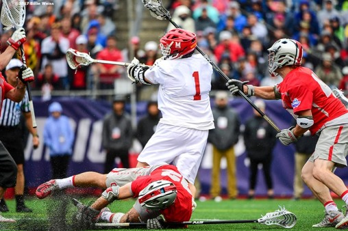 FOXBORO, MA - MAY 29: Matt Rambo #1 of the Maryland Terrapins scores a goal during the Division I Men's Lacrosse Championship against the Ohio State Buckeyes at Gillette Stadium on May 29, 2017 in Foxboro, Massachusetts. (Photo by Billie Weiss/Getty Images) *** Local Caption *** Matt Rambo