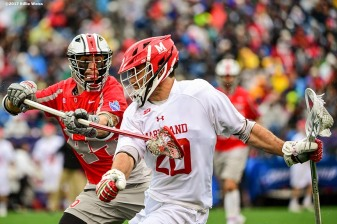 FOXBORO, MA - MAY 29: Nick Manis #20 of the Maryland Terrapins handles the ball as he is defended by Freddy Freibott #44 of the Ohio State Buckeyes during the Division I Men's Lacrosse Championship at Gillette Stadium on May 29, 2017 in Foxboro, Massachusetts. (Photo by Billie Weiss/Getty Images) *** Local Caption *** Nick Manis; Freddy Freibott