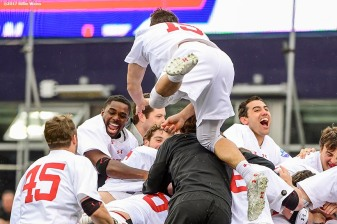 FOXBORO, MA - MAY 29: Members of the Maryland Terrapins react as they win the Division I Men's Lacrosse Championship against the Ohio State Buckeyes at Gillette Stadium on May 29, 2017 in Foxboro, Massachusetts. (Photo by Billie Weiss/Getty Images) *** Local Caption ***