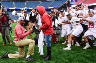 FOXBORO, MA - MAY 29: A member of of the Maryland Terrapins training staff proposes to his girlfriend after the team won the Division I Men's Lacrosse Championship against the Ohio State Buckeyes at Gillette Stadium on May 29, 2017 in Foxboro, Massachusetts. (Photo by Billie Weiss/Getty Images) *** Local Caption ***