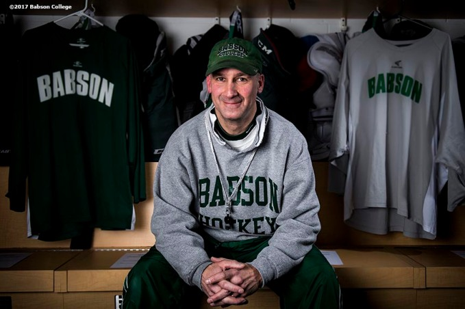 December 6, 2016, Wellesley, MA: Babson College hockey coach Jaime Rice poses for a portrait during a practice at Babson Skating Center in Wellesley, Massachusetts Tuesday, December 6, 2016. (Photo by Billie Weiss/Babson College Magazine)