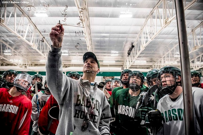 December 6, 2016, Wellesley, MA: Babson College hockey coach Jaime Rice coaches during a practice at Babson Skating Center in Wellesley, Massachusetts Tuesday, December 6, 2016. (Photo by Billie Weiss/Babson College Magazine)