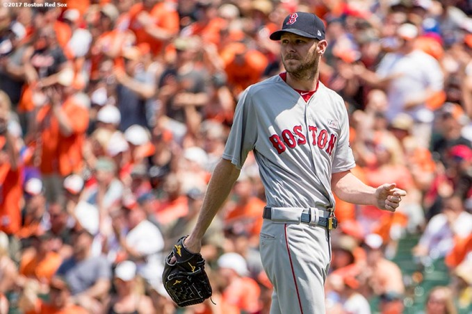 BOSTON, MA - JUNE 4: Chris Sale #41 of the Boston Red Sox reacts during the first inning of a game against the Baltimore Orioles on June 4, 2017 at Oriole Park at Camden Yards in Baltimore, Maryland. (Photo by Billie Weiss/Boston Red Sox/Getty Images) *** Local Caption *** Chris Sale