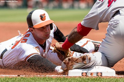 BOSTON, MA - JUNE 4: Joey Rickard #23 of the Baltimore Orioles avoids the tag of Pablo Sandoval #48 of the Boston Red Sox as he steals third base during the first inning of a game on June 4, 2017 at Oriole Park at Camden Yards in Baltimore, Maryland. (Photo by Billie Weiss/Boston Red Sox/Getty Images) *** Local Caption *** Joey Rickard; Pablo Sandoval