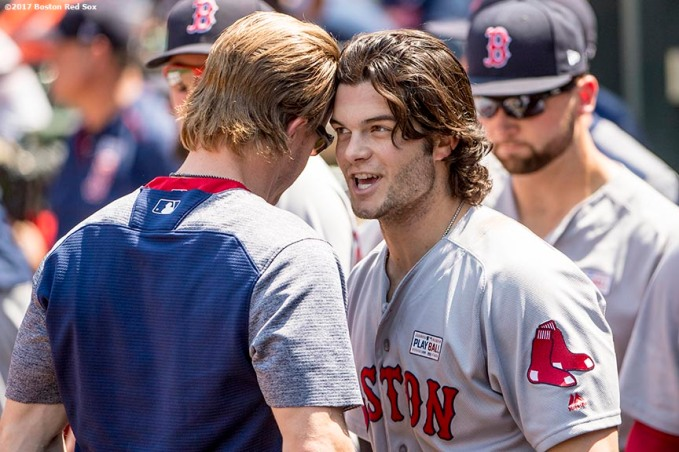 BOSTON, MA - JUNE 4: Andrew Benintendi #16 of the Boston Red Sox rubs his head together with Brock Holt #12 after hitting a solo home run during the third inning of a game against the Baltimore Orioles on June 4, 2017 at Oriole Park at Camden Yards in Baltimore, Maryland. (Photo by Billie Weiss/Boston Red Sox/Getty Images) *** Local Caption *** Andrew Benintendi; Brock Holt