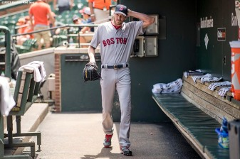 BOSTON, MA - JUNE 4: Chris Sale #41 of the Boston Red Sox walks through the dugout before a game against the Baltimore Orioles on June 4, 2017 at Oriole Park at Camden Yards in Baltimore, Maryland. (Photo by Billie Weiss/Boston Red Sox/Getty Images) *** Local Caption *** Chris Sale