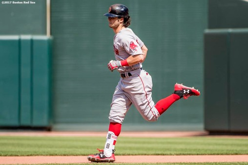BOSTON, MA - JUNE 4: Andrew Benintendi #41 of the Boston Red Sox rounds the bases after hitting a solo home run during the seventh inning of a game against the Baltimore Orioles on June 4, 2017 at Oriole Park at Camden Yards in Baltimore, Maryland. It was his second home run of the game. (Photo by Billie Weiss/Boston Red Sox/Getty Images) *** Local Caption *** Andrew Benintendi