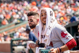 BOSTON, MA - JUNE 4: Mookie Betts #50 and Deven Marrero #17 of the Boston Red Sox look on during the sixth inning of a game against the Baltimore Orioles on June 4, 2017 at Oriole Park at Camden Yards in Baltimore, Maryland. (Photo by Billie Weiss/Boston Red Sox/Getty Images) *** Local Caption *** Mookie Betts; Deven Marrero