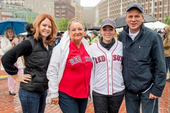 June 6, 2017, Boston, MA: Boston Red Sox wives Ann Davis, Georgia Nua, and Erin Bradley, and President Emeritus Larry Lucchino pose for a photograph during the 2017 Jimmy Fund Scooper Bowl at City Hall Plaza in Boston, Massachusetts Tuesday, June 6, 2017. (Photo by Billie Weiss/Boston Red Sox)