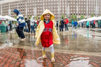 June 6, 2017, Boston, MA: Jimmy Fund patient Maddie plays in a puddle during the 2017 Jimmy Fund Scooper Bowl at City Hall Plaza in Boston, Massachusetts Tuesday, June 6, 2017. (Photo by Billie Weiss/Boston Red Sox)