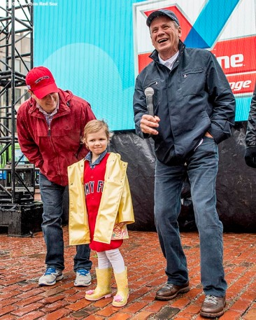 June 6, 2017, Boston, MA: Boston Red Sox President Emeritus Larry Lucchino introduces Jimmy Fund patient Maddie during the 2017 Jimmy Fund Scooper Bowl at City Hall Plaza in Boston, Massachusetts Tuesday, June 6, 2017. (Photo by Billie Weiss/Boston Red Sox)