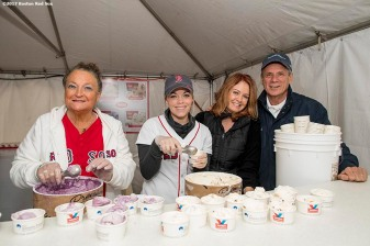 June 6, 2017, Boston, MA: Boston Red Sox wives Georgia Nua, Erin Bradley, and Ann Davis, and President Emeritus Larry Lucchino pose for a photograph during the 2017 Jimmy Fund Scooper Bowl at City Hall Plaza in Boston, Massachusetts Tuesday, June 6, 2017. (Photo by Billie Weiss/Boston Red Sox)