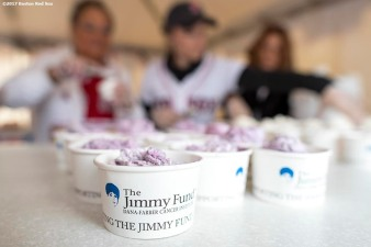 June 6, 2017, Boston, MA: Cups of ice cream are shown during the 2017 Jimmy Fund Scooper Bowl at City Hall Plaza in Boston, Massachusetts Tuesday, June 6, 2017. (Photo by Billie Weiss/Boston Red Sox)