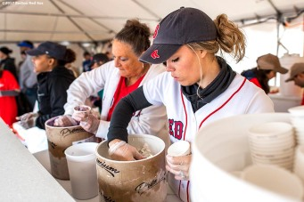 June 6, 2017, Boston, MA: Boston Red Sox wife Erin Bradley serves ice cream during the 2017 Jimmy Fund Scooper Bowl at City Hall Plaza in Boston, Massachusetts Tuesday, June 6, 2017. (Photo by Billie Weiss/Boston Red Sox)