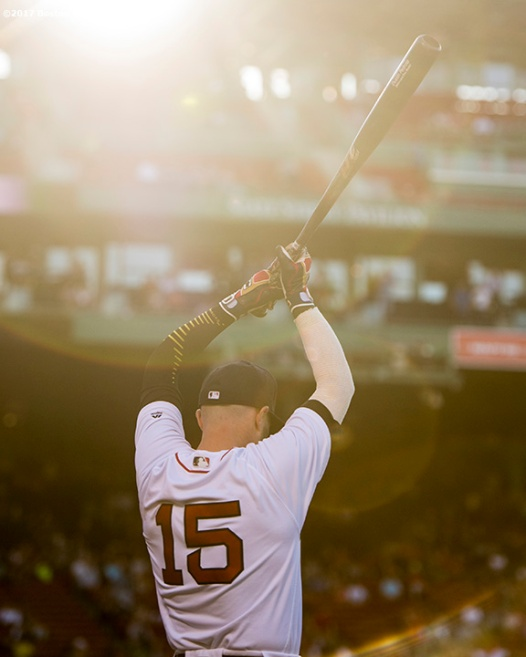 BOSTON, MA - JUNE 9: Dustin Pedroia #15 of the Boston Red Sox warms up before a game against the Detroit Tigers on June 9, 2017 at Fenway Park in Boston, Massachusetts. (Photo by Billie Weiss/Boston Red Sox/Getty Images) *** Local Caption *** Dustin Pedroia