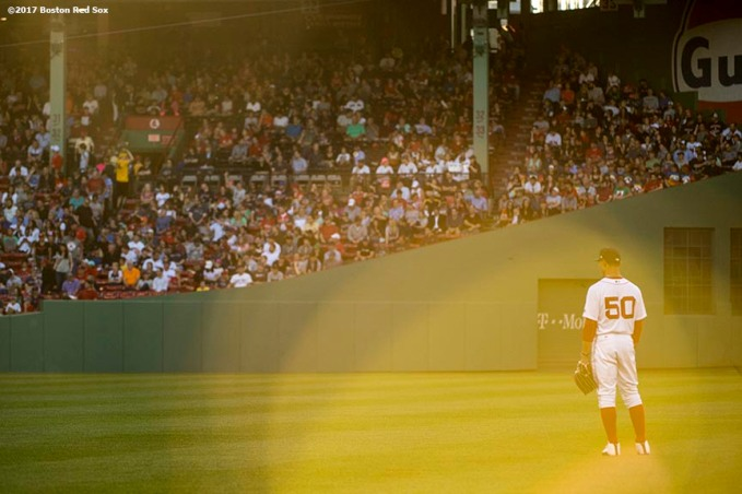 BOSTON, MA - JUNE 9: Mookie Betts #50 of the Boston Red Sox looks on during the first inning of a game against the Detroit Tigers on June 9, 2017 at Fenway Park in Boston, Massachusetts. (Photo by Billie Weiss/Boston Red Sox/Getty Images) *** Local Caption *** Mookie Betts