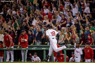 BOSTON, MA - JUNE 9: Jackie Bradley Jr. #19 of the Boston Red Sox rounds the bases after hitting a go ahead two run home run during the eighth inning of a game against the Detroit Tigers on June 9, 2017 at Fenway Park in Boston, Massachusetts. (Photo by Billie Weiss/Boston Red Sox/Getty Images) *** Local Caption *** Jackie Bradley Jr.