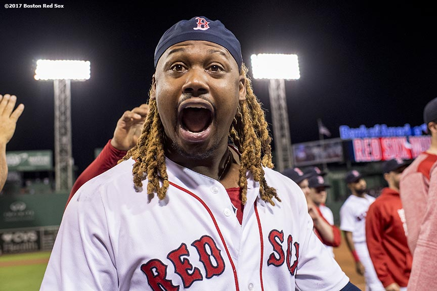 BOSTON, MA - JUNE 9: Hanley Ramirez #13 of the Boston Red Sox celebrates a victory against the Detroit Tigers on June 9, 2017 at Fenway Park in Boston, Massachusetts. (Photo by Billie Weiss/Boston Red Sox/Getty Images) *** Local Caption *** Hanley Ramirez